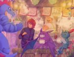 2boys chopsticks crobat eating fangs feraligatr food grin happy k_knuckle pokeblock pokemon pokemon_(game) pokemon_hgss red_hair redhead silver_(pokemon) smile sneasel