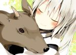 blush closed_eyes deer eyes_closed grey_hair hug japanese_clothes long_hair mononobe_no_futo ponytail rin_(royal) smile solo touhou