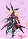 :3 adult alternate_breast_size blazblue blonde_hair bow breasts eu03 frills gii hair_bow large_breasts long_hair nago platform_footwear platform_heels rachel_alucard solo twintails umbrella very_long_hair