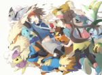 1boy 1girl arcanine bag black_legwear brown_hair danchi_(pomechize) delcatty dewott double_bun eevee herdier holding holding_poke_ball jacket kyouhei_(pokemon) leggings lucario mei_(pokemon) open_mouth pantyhose pidove poke_ball pokemon pokemon_(creature) pokemon_(game) pokemon_bw2 pomechize raglan_sleeves ribbon serperior shoes shoulder_bag sneakers sunkern tepig twintails visor_cap woobat zubat