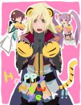 2boys animal_ears asbel_lhant bad_id blonde_hair brown_hair cat_paws claws fangs happy_new_year highres long_hair multiple_boys new_year no_nose open_mouth paws purple_hair richard_(tales_of_graces) rough sasayama_panda short_hair sophie_(tales_of_graces) tail tales_of_(series) tales_of_graces tiger_ears tiger_tail twintails yellow_eyes