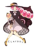 1girl claydol doll dress formal hat holding marionette personification pink_hair pokemon ribbon short_hair sitting
