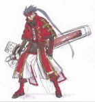 1boy arc_system_works black_hair capelet concept_art fingerless_gloves forehead_protector gloves guilty_gear headband long_hair official_art ponytail sketch sol_badguy solo very_long_hair