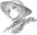 1girl blush frills hat imizu_(nitro_unknown) komeiji_koishi monochrome portrait short_hair sketch solo touhou