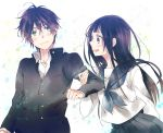 1girl black_hair chitanda_eru gakuran ginko_(silver_fox) green_eyes hyouka kasai long_hair oreki_houtarou purple_eyes school_uniform serafuku short_hair violet_eyes