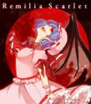 ascot bat_wings blue_hair fang hat hat_ribbon jewelry lgw7 moon open_mouth puffy_sleeves red_eyes red_moon remilia_scarlet ribbon shaft_look short_hair short_sleeves solo touhou wings wrist_cuffs