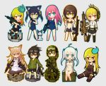 6+girls ammo_box assault_rifle battle_rifle bikini_top bullpup cat chibi famas fn_f2000 g3 glasses goggles goggles_on_head gun h&k_mp7 headset hk417 hk_g28 hk_g3 ico_(green_bullet) maid maid_headdress mecha_to_identify military military_uniform multiple_girls operator original rifle rk95 school_swimsuit sig_sauer slit_pupils smoke smoking smoking_gun submachine_gun swimsuit thighhighs uniform weapon xm8