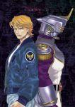 blonde_hair blue_eyes blue_jacket bomber_jacket dual_persona epaulettes helmet jacket jeans keith_goodman male mamemo_(daifuku_mame) power_suit sky_high solo superhero tiger_&_bunny