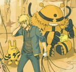 1boy blonde_hair cable denji_(pokemon) electivire elekid gloves gym_leader k_knuckle male open_clothes open_jacket plug pokemon pokemon_(creature) pokemon_(game) pokemon_dppt sitting sleeves_rolled_up socket