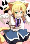 blonde_hair blush cat_ears cat_tail fang green_eyes kemonomimi_mode mizuhashi_parsee open_mouth paw_print scarf short_hair suna_(sunaipu) sunaipu tail touhou