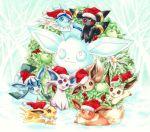 christmas clothed_pokemon eevee espeon flareon glaceon jolteon leafeon no_humans pokemon pokemon_(creature) umbreon vaporeon