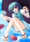 blue_hair geta heterochromia highres no_socks oriental_umbrella red_eyes sandals short_hair solo takamu tatara_kogasa touhou umbrella