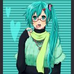 alternate_hairstyle aqua_eyes aqua_hair bad_id bespectacled bow candy casual earrings glasses hair_bow hair_ornament hairclip hatsune_miku jewelry kuroko_(pixiv1284201) lollipop long_hair necklace scarf side_ponytail sleeves_past_wrists solo vocaloid