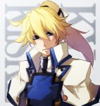 1boy blonde_hair blue_eyes bust capelet guilty_gear guilty_gear_xrd hair_ribbon high_collar ky_kiske long_hair ponytail ribbon solo uniform yomodaya