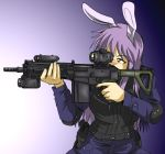 assault_rifle bad_id battle_rifle bunny_ears gun junkei long_hair operator purple_hair rabbit_ears red_eyes reisen_udongein_inaba rifle touhou vest weapon