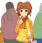 a1 bag brown_hair green_eyes idolmaster pointing purse raglan_sleeves scarf solo takatsuki_yayoi twintails