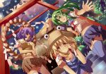 3girls alternate_costume alternate_hairstyle beckon blonde_hair down_blouse dutch_angle frog gohei green_eyes green_hair hair_ornament hair_ribbon hat kochiya_sanae long_hair midriff mikan_(bananoha) moriya_suwako multiple_girls navel open_mouth purple_hair purple_legwear red_eyes ribbon rope school_uniform serafuku shimenawa short_hair shrine shy side_ponytail skirt smile snake stairs sunbeam sunlight sunset thighhighs torii touhou tree white_legwear yasaka_kanako yellow_eyes zettai_ryouiki