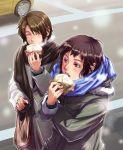 brown_eyes brown_hair car closed_eyes eating food kaja koizumi_itsuki kyon male motor_vehicle multiple_boys nikuman scarf suzumiya_haruhi_no_yuuutsu vehicle winter_clothes