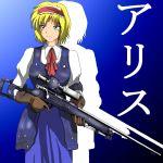 bad_id blonde_hair blue_eyes gun hairband junkei rifle short_hair sniper_rifle touhou translated translation_request trigger_discipline weapon