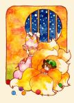animal_ears cat_ears chen deko fox_tail knitting multiple_girls multiple_tails sleeping snow tail touhou traditional_media watercolor_(medium) yakumo_ran yarn