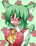 ascot bespectacled blush breasts bust cat_ears cat_tail embarrassed fang glasses green_hair huge_breasts kazami_yuuka kemonomimi_mode paw_print plaid_vest red_eyes short_hair solo tail touhou