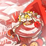 boy_in_food cake candy candy_cane checkered cherry chibi cupcake food fruit girl_in_food in_food kagamine_len kagamine_rin miniboy minigirl nia_(four_winds) nia_(pixiv774722) pastry siblings smile twins vocaloid