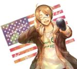 alternate_costume america america_(hetalia) axis_powers_hetalia blonde_hair blue_eyes contemporary english flag glasses happy headphones jacket jewelry male microphone necklace solo wink
