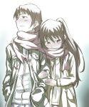 1girl arm_hug blush brown_eyes brown_hair couple dual_persona genderswap kyon kyonko long_hair ponytail rokudena-shi scarf shared_scarf sketch suzumiya_haruhi_no_yuuutsu