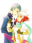 1girl blue_eyes blue_hair glasses gloves hubert_ozwell multicolored_hair pascal red_hair redhead scarf tales_of_(series) tales_of_graces two-tone_hair white_hair yellow_eyes yuki_ya