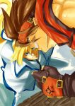 2boys blonde_hair blue_eyes brown_hair clenched_hand faux_traditional_media fingerless_gloves forehead_protector gloves grin guilty_gear guilty_gear_xrd hair_ribbon headband highres ky_kiske long_hair multiple_boys muscle no_n@me ponytail ribbon smile sol_badguy spiky_hair sword weapon