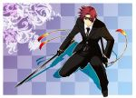 alternate_costume asbel_lhant bad_id blue_eyes brown_hair checkered checkered_background eyepatch male solo sword tales_of_(series) tales_of_graces tktg tuxedo weapon