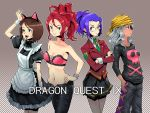 alternate_costume animal_ears annotated annotation_request boyaking brown_eyes brown_hair casual character_request contemporary dragon_quest dragon_quest_ix glasses grey_hair idol maid multiple_girls pantyhose purple_hair red_eyes red_hair redhead skirt