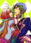 1girl 9wa argyle argyle_background bad_id blue_hair glasses hubert_ozwell multicolored_hair pascal red_hair redhead scarf tales_of_(series) tales_of_graces white_hair