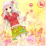 candy food_as_clothes food_themed_clothes heart navel original pink_hair red_eyes side_ponytail solo
