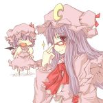 :d adjusting_glasses bat_wings bespectacled chibi closed_eyes crescent glasses hat long_hair moon natsuk open_mouth patchouli_knowledge purple_eyes purple_hair remilia_scarlet ribbon short_hair smile sparkle touhou violet_eyes wings