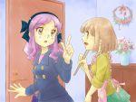 chopsticks highres kanamemo kujiin_mika multiple_girls nakamachi_kana seriza_(hidepu) sleeves_rolled_up yuri