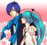 aqua_hair bad_id blue_eyes blue_hair blush hair_ribbon hatsune_miku kaito long_hair mochiko_(pixiv1116288) ribbon scarf smile twintails vocaloid world_is_mine_(vocaloid)