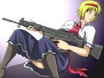 assault_rifle battle_rifle blonde_hair blue_eyes fn_fal gun hairband junkei rifle short_hair thighhighs touhou trigger_discipline weapon
