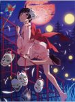 absurdres araragi_tsukihi bakemonogatari barefoot bird black_eyes black_hair blush cloud clouds fox_mask full_moon highres japanese_clothes jungle_gym kimono legs looking_at_viewer mask monogatari_(series) moon night nisemonogatari official_art scan shoe_dangle short_hair short_kimono short_yukata sky solo watanabe_akio yukata