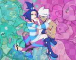 alternate_color blue_hair grey_hair homika_(pokemon) koffing pokemon pokemon_(game) pokemon_bw2 ponytail quagsire shizui_(pokemon) short_hair toxicroak wailord