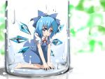 blue_hair bottle bow cirno detached_wings hair_bow ice ice_wings kneeling open_mouth puffy_sleeves purple_eyes short_hair short_sleeves solo tatsumin touhou violet_eyes wings