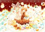 :q bag bird book brown_hair cake candy chocolate cotton_candy dress food fork heart highres no_nose open_mouth original personification photo_background ribbon shimotsuki_yukino shoulder_bag sitting sweets tongue white_hair