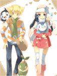 1boy 1girl alternate_costume bag beanie blonde_hair blue_eyes blue_hair boots coat hat hikari_(pokemon) hikari_(pokemon)_(remake) jacket jun_(pokemon) jun_(pokemon)_(remake) long_hair orange_eyes pachirisu piplup pokemon pokemon_(creature) pokemon_(game) pokemon_dppt scarf simple_background starly tegaki turtwig winter_clothes