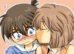 1boy 1girl blue_eyes blush brown_hair closed_eyes detective_conan edogawa_conan eyes_closed glasses haibara_ai kiss meitantei_conan short_hair wankokoya