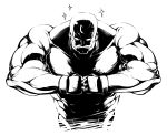 alex_louis_armstrong bald bust facial_hair fullmetal_alchemist high_contrast hyouju_issei male manly monochrome muscle mustache simple_background solo white_background