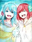 akb0048 aqua_hair blue_eyes blue_hair eyes_closed hair_ornament jikasei kirara kirara_(akb0048) long_hair motomiya_nagisa multiple_girls open_mouth red_hair redhead ribbon short_hair smile sono_chieri traditional_media watercolor_(medium)