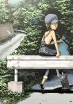 black_hair brown_eyes cabbie_hat cat fishing_rod guard_rail hat looking_back mole naked_overalls no_bra original overalls road short_hair sitting smile solo tree yoneda_taishou