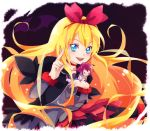 2girls aida_mana bat blonde_hair blue_eyes bow cropped_jacket dokidoki!_precure dress hair_bow kamabo_ko long_hair minigirl multiple_girls pink_eyes pink_hair precure regina_(dokidoki!_precure) school_uniform short_hair smile