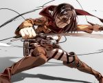 218 belt boots brown_eyes brown_hair jacket mikasa_ackerman scarf shingeki_no_kyojin sword thigh_strap weapon