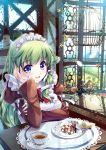 bird birdcage blue_eyes blush cage checkerboard_cookie cookie cup enmaided feathers flower food frog_hair_ornament green_hair hair_ornament highres juliet_sleeves kochiya_sanae long_sleeves maid maid_headdress miyase_mahiro pocky puffy_sleeves saucer snake tea teacup touhou window